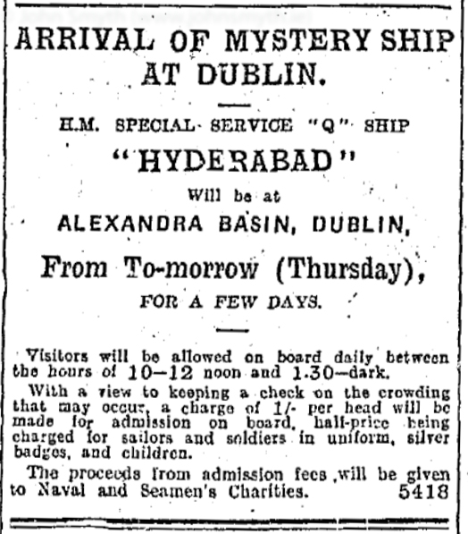 Advert for tour of HMS Hyderabad, February 1919
